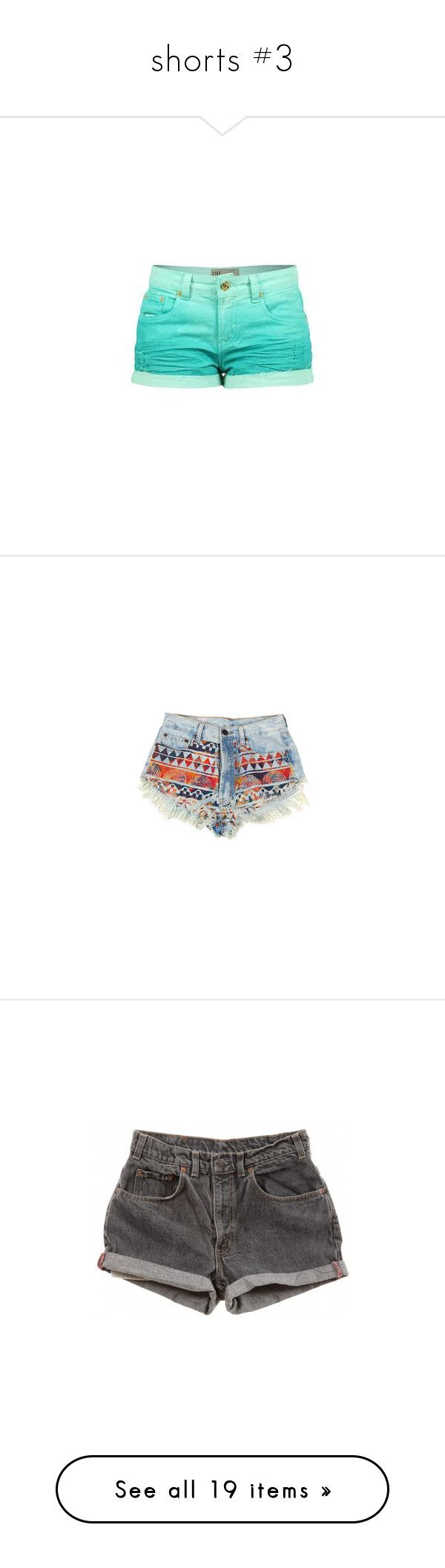 """""""shorts #3"""" by giprevedabr ❤ liked on Polyvore featuring shorts, short shorts, bottoms, pants, summer jean shorts, fringe denim shorts, tribal denim shorts, tribal shorts, denim shorts and short"""