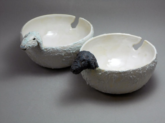 Knitting Bowl Funny : Sheep yarn bowl with guide cutout tail white woolly