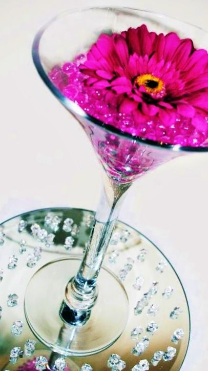 Martini Vase Pink Water Pearls And Gerberas Cute N