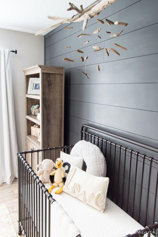 An easy DIY driftwood crib mobile in a beautiful coastal theme gender neutral  baby nursery room.
