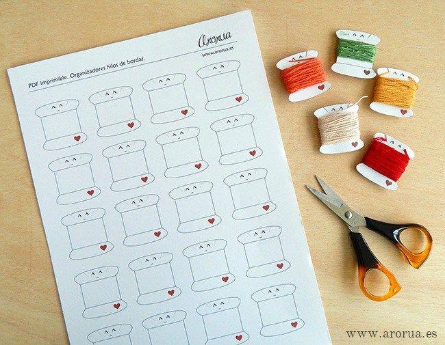 PDF imprimible. Bobinas de cartón para organizar tus hilos de bordar.