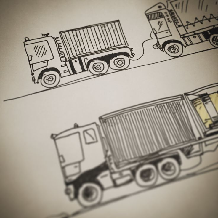 Exercises with TIR > #transport #international #router :) #wip #daily #dailysketch #graphicnovel #speedsketch #workinprogress #tinymachines #machine #tinymachinery #drawings #illustration #graphicdesigner #sketches #sketch #graphicsdesign #graphicartist #kidsroom #giftforkids #sepia #construction #truck #trucks #container #tir #blackwhite #bw #unipin