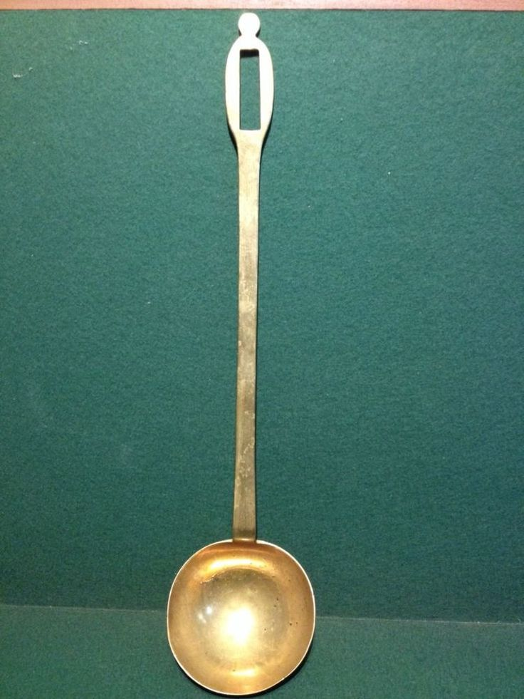 Large Antique Victorian Kitchenalia - Large Brass Cooking Ladle / Spoon - 19.6