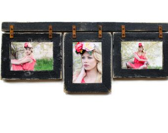 Barnwood Mixed Collage Frame. 3) 5x7 Multi Opening Frame. Rustic Picture Frame. Collage Frame. Black Picture Frame. Distressed Frame