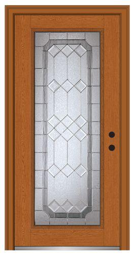 Shown is a Majestic Elegance Full Lite Fiberglass Oak Entry Door Stained Fruitwood! Visit DoorBuy.com!