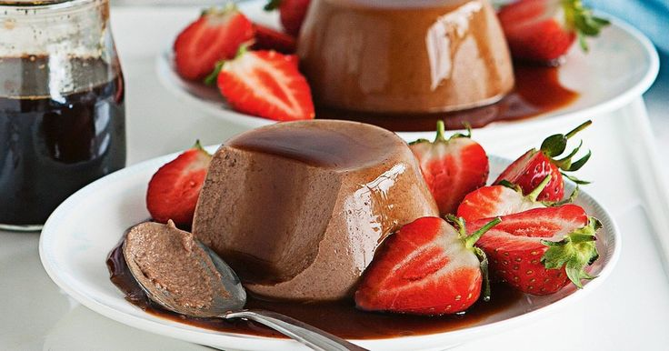For a decadent dessert try these lush chocolate panna cottas drizzled in espresso syrup and garnished with fresh strawberries.