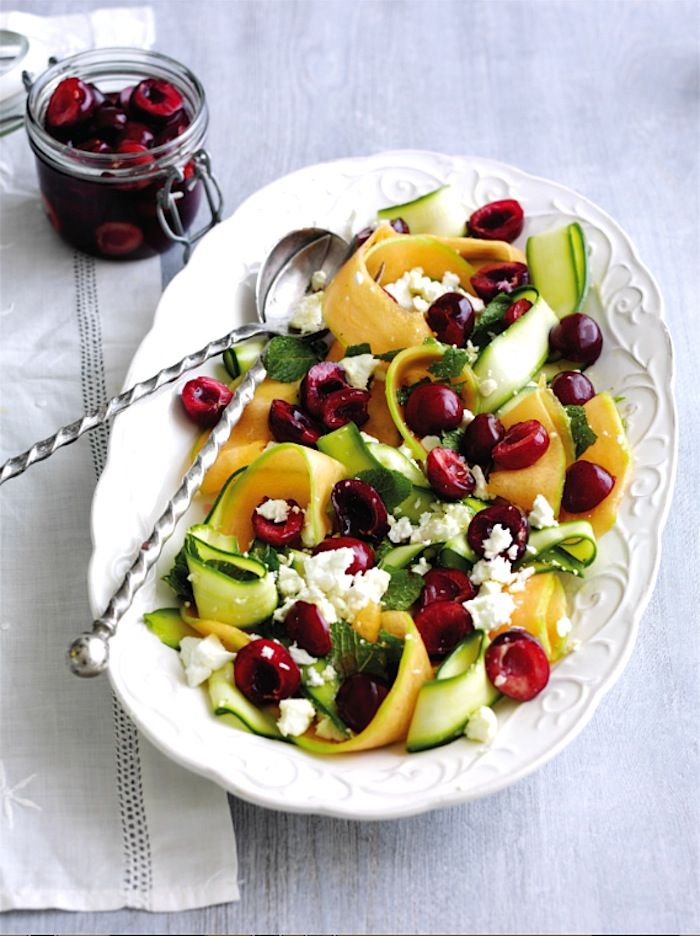 Summer Salad with Feta and Pickled Cherries | Rachel Khoo