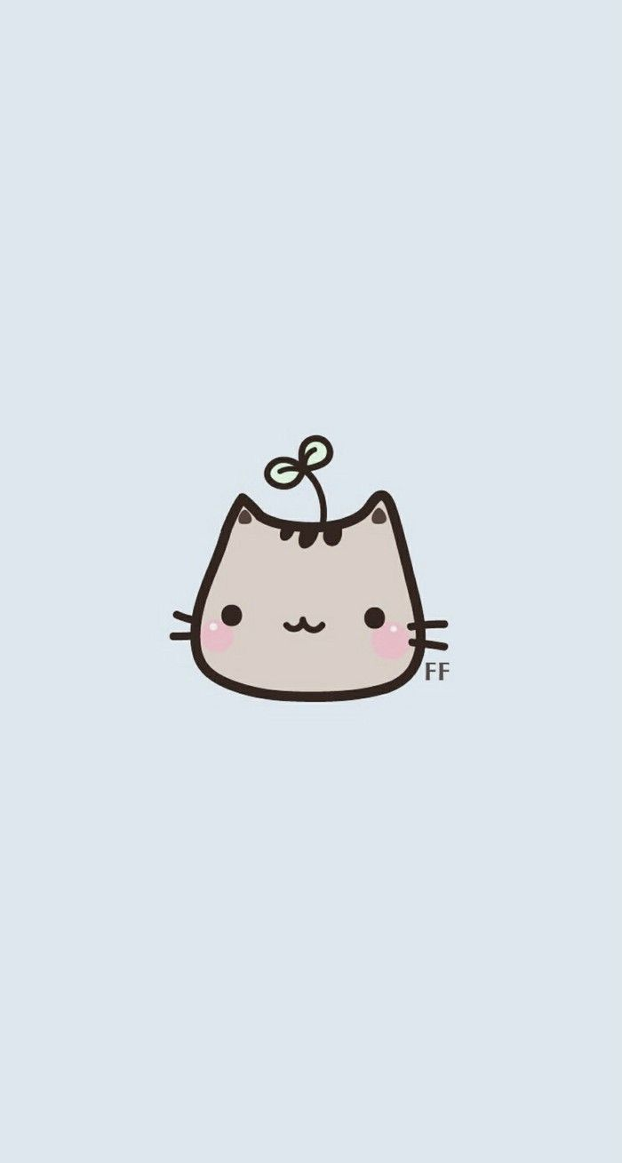Kawaii Cat Simple iPhone Wallpaper @PanPins