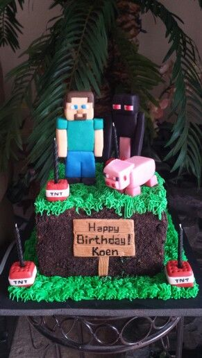 Had a request for a Mine Craft cake! Chocolate on chocolate with Oreo cookie crumbs; figures all handmade with homemade marshmallow fondant...contact me to place an order for this or any other cake! My latest hobby!