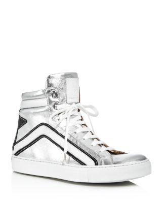 BELSTAFF Dillon Metallic High Top Sneakers. #belstaff #shoes #sneakers