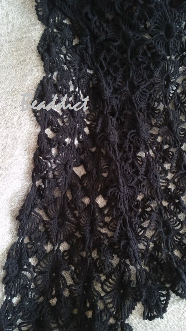 """""""Black Flowers"""" crocheted scarf. designed and beaded by Beaddict. 100% cotton."""