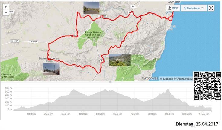 Cariatiz, Via Verde und Sierra Cabrera  Vollständiger Bericht bei: http://agu.li/1ay  Das etwas dunstige / diesige Wetter verwehrte uns eine schöne Fernsicht. Hatten wir am Morgen noch zeitweise gegen den Wind zu kämpfen, so half er uns am Nachmittag an der steilen, ruppigen Sierra Cabrera über all die Rampen hinauf. Das GPS registrierte: 114.41 KM und 1979 Höhenmeter.