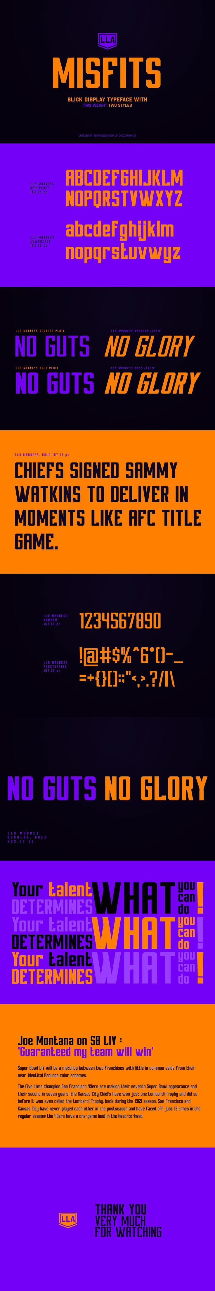 LLA MISFITS Sports Display Font in 2020 Web graphic