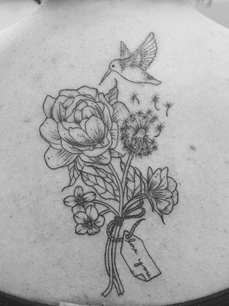 Hummingbird Represents Love And Celebration Of Life Peonies Are My Parents Favourite Flowers Forget Me Nots So I Always Remember Them Dandelion Clock