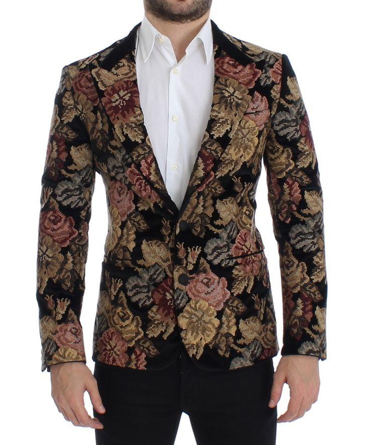 Black velvet floral slim fit blazer