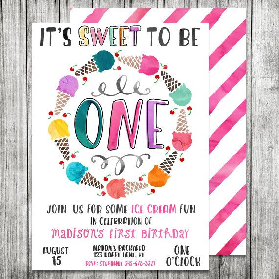 watercolor first birthday ice cream invite ice cream birthday invite ice cream shoppe