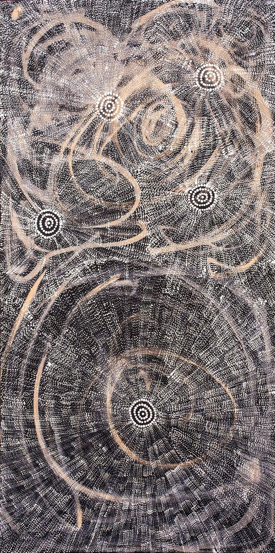 Lola Nampitjinpa Brown - Ngapa Jukurrpa (Water Dreaming) - Mikanji http://www.aboriginalsignature.com/art-aborigene-yuendumu/lola-nampitjinpa-brown-ngapa-jukurrpa-water-dreaming-mikanji