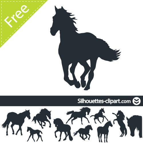 vector silhouettes of horses | silhouettes clipart