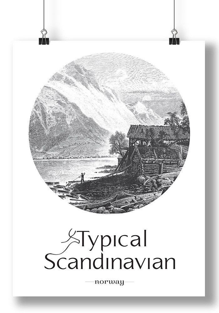 Old Scenic Norwegian Typical Scandinavian Wall Art