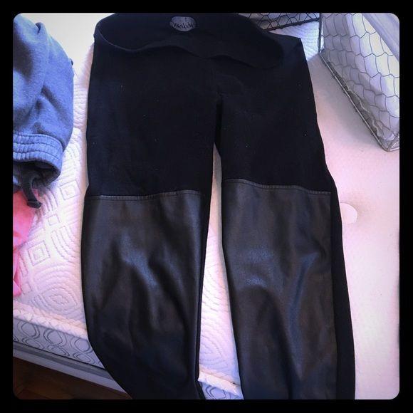 Nasty gal leather panel leggings sz m Nasty gal leather panel leggings size medium worn once Nasty Gal Pants Leggings