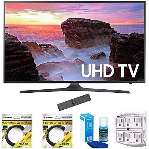 "Samsung 65"" 4K Ultra HD Smart LED TV 2017 Model (UN65MU6300FXZA) with 2x 6ft High Speed HDMI Cable, Screen Cleaner for LED TVs & Stanley 6-Outlet Surge Adapter with Night Light #speedcleaning"
