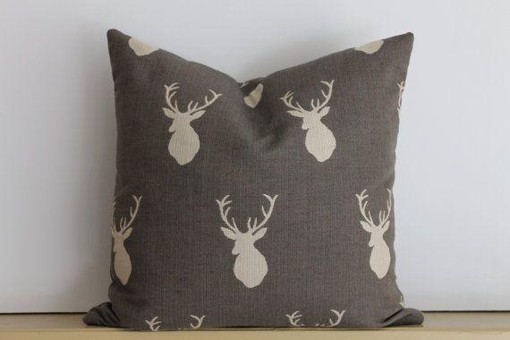 Designer Gray and White Stag Silhouette Pillow by KariFisherDesign