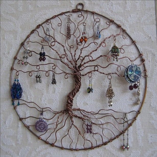 The first one is so damn crazy idea, actually we have made the entire display hub using some twisted metallic wires. We used a metallic round wire, and inside it, we have connected the twisted wires all around. This has created enough space to hang a number of jewelry items.
