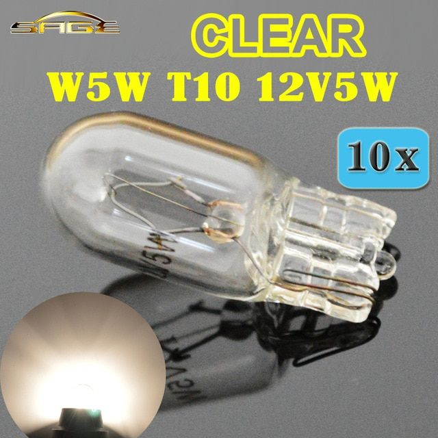 Hippcron T10 W5w 501 194 Clear Signal Lamp White Glass 12v 5w W2 1x9 5d Single Filament Car Bulb Auto Light 10 Pcs Review Car Bulbs Car Lights White Glass