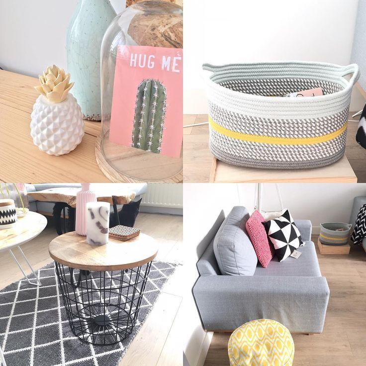 #kwantumrepost Decoratie Ananas, Bijzettafel Corby, poef Rimini en mand Terenzo @lisette_niewenhuijse - Even naar de woonboulevard om een nieuw tafeltje en thuiskomen met tassenvol nieuwe spullen. Oeps! Maar wel blij met al die pasteltintjes in huis. #jellow #pink #pastel #kwantum #leenbakker #interior #scandinavianhome #scandinavianinterior #interiorjunkie #pineapple