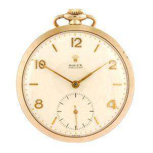 LOT:130 | A 9ct gold keyless wind open face Rolex Precision pocket watch.