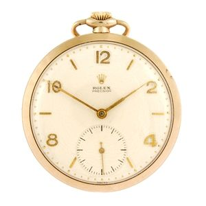 LOT:130 | A 9ct gold keyless wind open face Rolex Precision pocket watch.