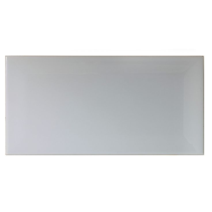 Bevelled Edge Grey Gloss Bevelled Edge Ceramic Wall Tile, Pack of 50, (L)200mm (W)100mm | Departments | DIY at B&Q