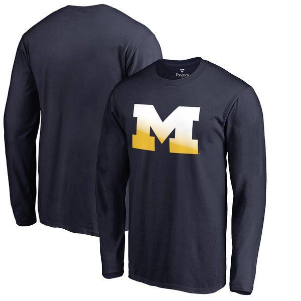 Michigan Wolverines Fanatics Branded Big & Tall Gradient Logo Long Sleeve T-Shirt - Navy - $34.99