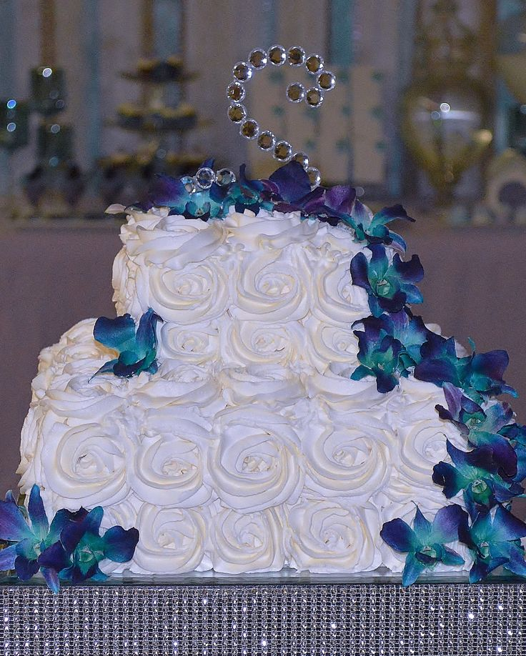 Blue And Purple Orchids Wedding Cake Hasshe Com