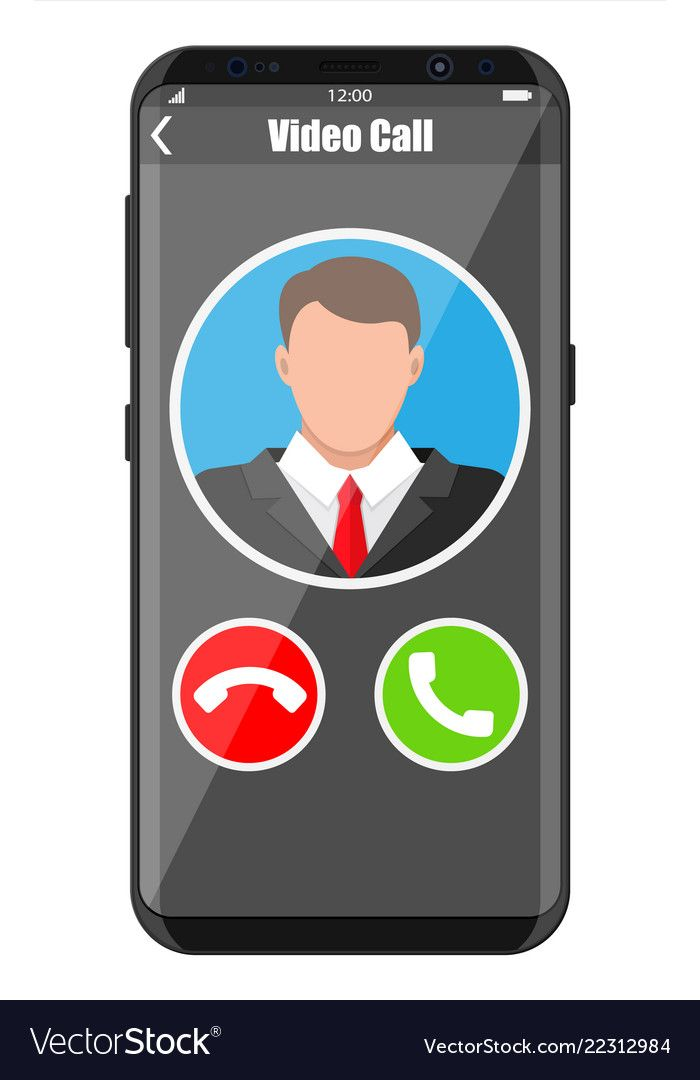 Incoming video call on smartphone vector image on   Vector ...