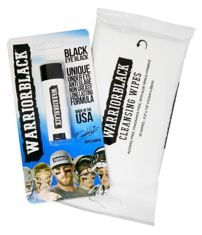 Warriorblack Eyeblack Stick and Cleansing Wipes. Warriorblack is the exclusive anti-glare under-eye product worn by player Bryce Harper. Baseball, lacrosse, softball and football players will love this long-lasting eye black.