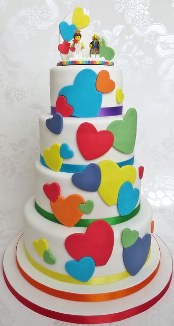Fun Rainbow Heart Wedding Cake and Lego topper - lego wedding cake - lego cake pambakescakes pam bakes cakes