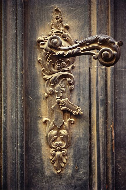 Image detail for -Ornate European doorknob without keyhole in a old wooden door.