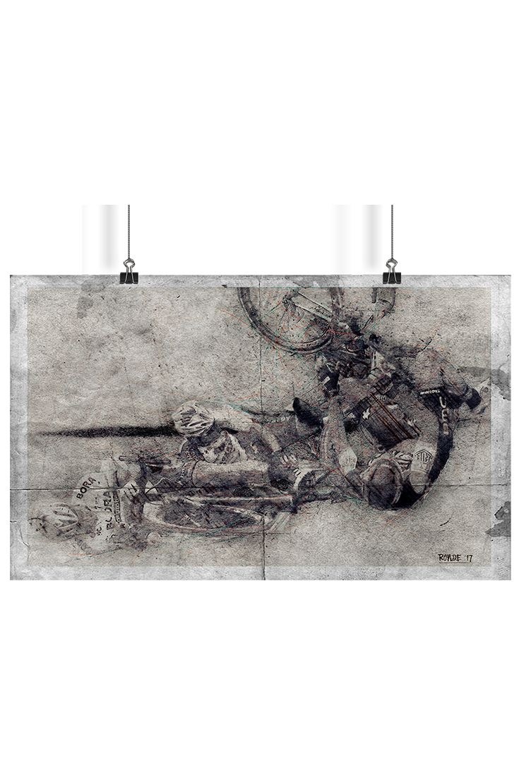 Graphic illustration of crucial crash moment from Ronde van Vlaanderen 2017. Composition used combination of technics like pen sketch together with charcoal and used smooth acrylic background. Graphic set for download is available in .jpeg and .tiff format. Resolution 300 pixels per inch with size 4000 x 2448 pixels.
