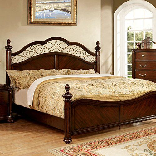 AmazonSmile Vance Traditional Elegant Style Dark Cherry Finish Cal King Size