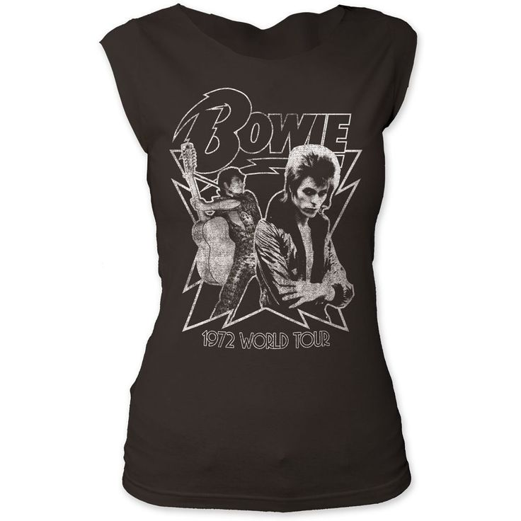 Rocker Rags - David Bowie Women's Vintage Concert T-shirt - David Bowie 1972 World Tour. Women's Black Sleeveless Shirt, $32.50 (http://www.rockerrags.com/david-bowie-womens-vintage-concert-t-shirt-david-bowie-1972-world-tour-womens-black-sleeveless-shirt/)