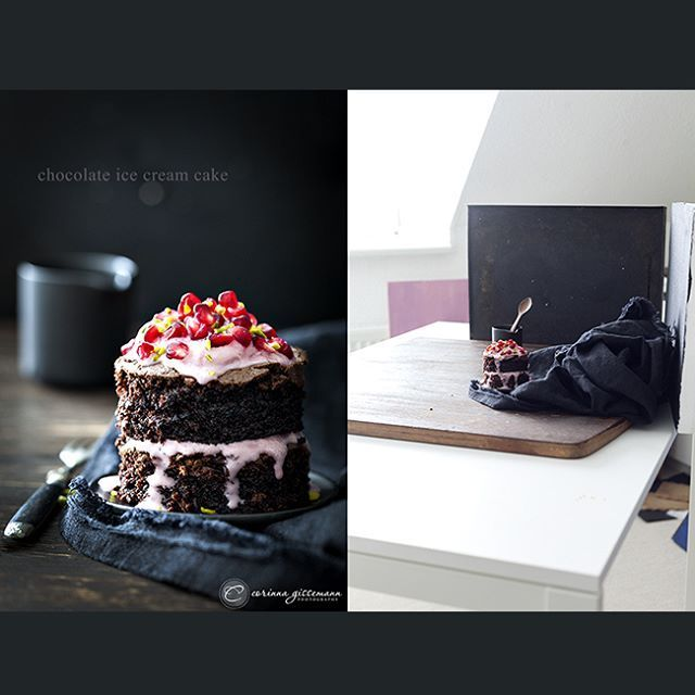 Lighting Trick: Fill the front of the dark cake by setting up on a white table, see what they did there?