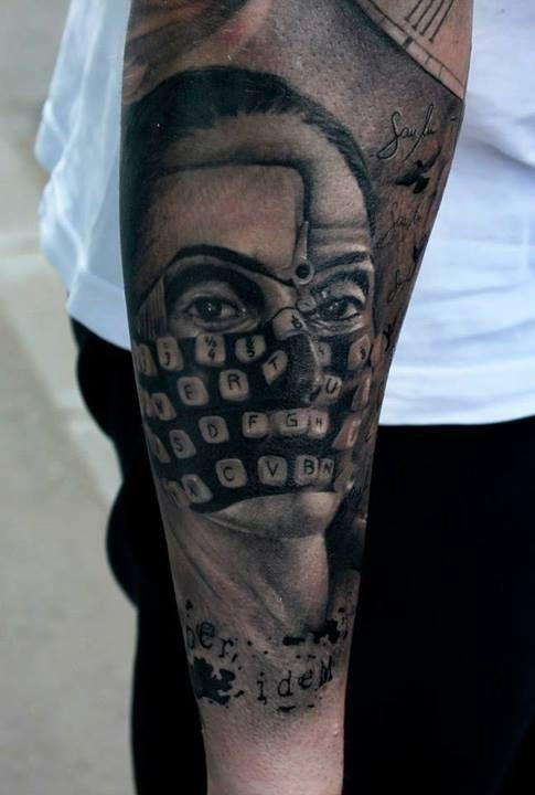 Another impressive and terrifying tattoo by Bogdan. #InkedMagazine #typewriter #face #tattoo #tattoos #Inked #Ink