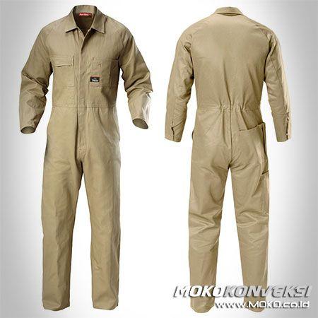 Safety Coverall - MOKO KONVEKSI. Jual Baju Mekanik Wearpack Kerja Coverall Warna Krem Polos