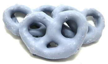 Blueberry Yogurt Pretzels for the Cinderella party with real blueberries!