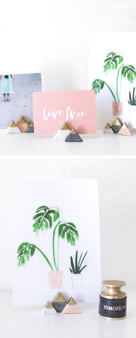 DIY Fotohouders in de vorm van mini bergen met gouden top // via Sugar and Cloth