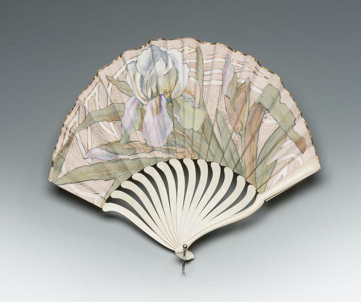1903 Folding Fan, Russian; painted with watercolours