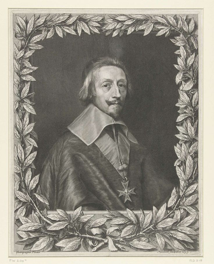 Robert Nanteuil | Portret van Armand-Jean du Plessis, Robert Nanteuil, 1657 | Portret van de kardinaal Armand-Jean du Plessis, hertog van Richelieu, met het insigne van de orde van de Heilige Geest (Saint-Esprit). Portret omlijst met twee lauriertakken.