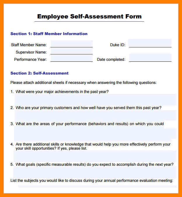 Annual Performance Review Employee Self Evaluation Examples Self