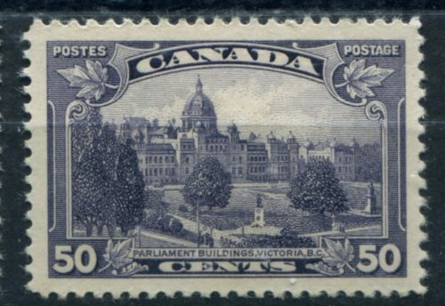The parliament buildings in Victoria BC look largely the same today as it did in 1935 when this stamp was issued.